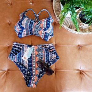 Cupshe M blue & orange boho bikini